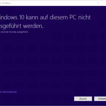 Windows 10 kann auf diesem PC nicht ausgeführt werden