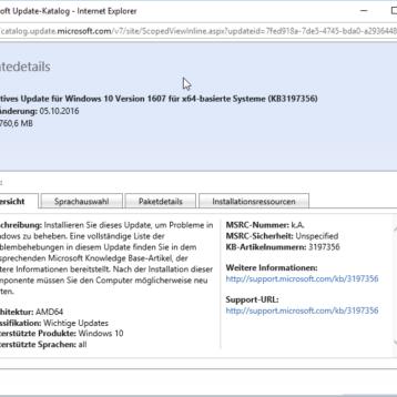 KB3197356 ersetzt fehlerhaftes Update KB3194496