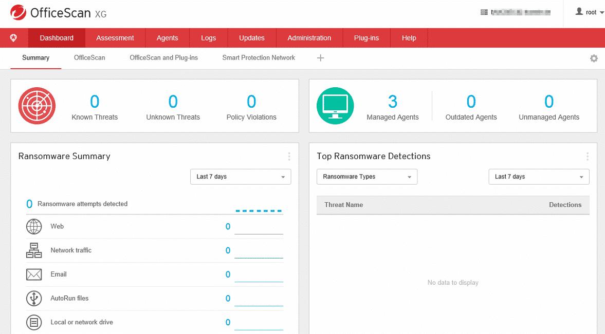 OfficeScan XG Dashboard