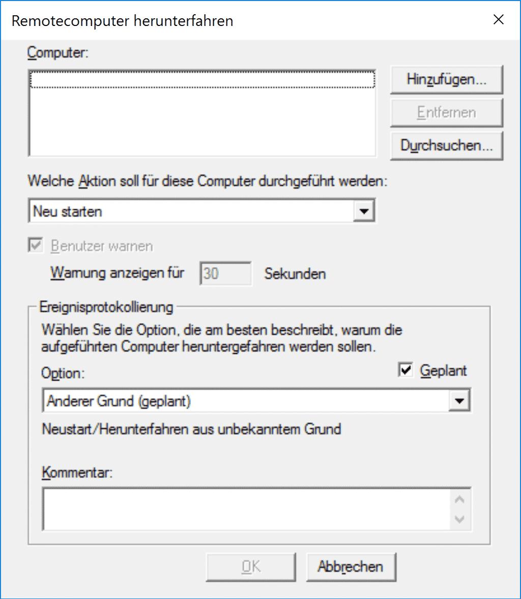Shutdown Parameter -i grafische Oberfläche