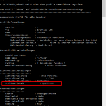 WLAN Kennwort im Klartext anzeigen per DOS Befehl
