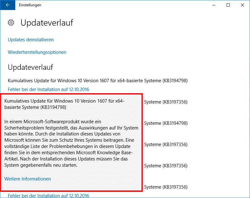 Windows 10 Fehler Installation KB3194798