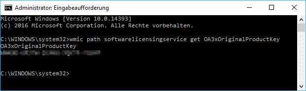 Windows Key mit WMIC auslesen