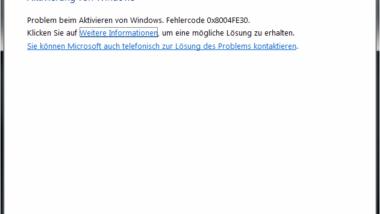 0x8004FE30 Windows Aktivierungs Fehler