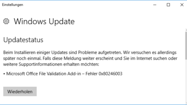 0x80246003 Windows Update Fehler Office Validation Add-in