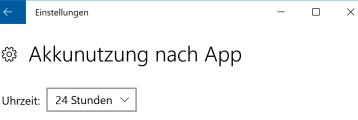 Akkunutzung nach App bei Windows 10