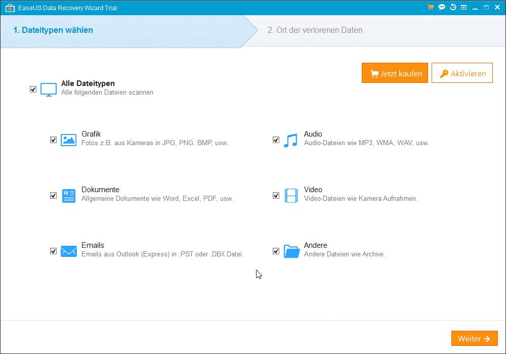 EaseUs Data Recovery Dateitypen wählen