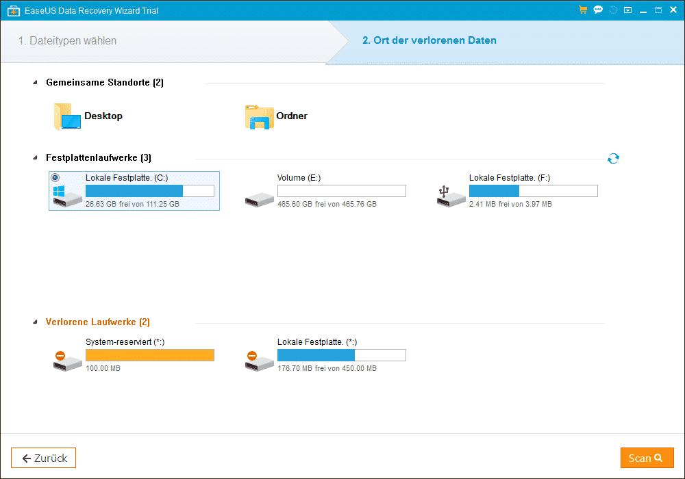 EaseUs Data Recovery Ort der verlorenen Daten