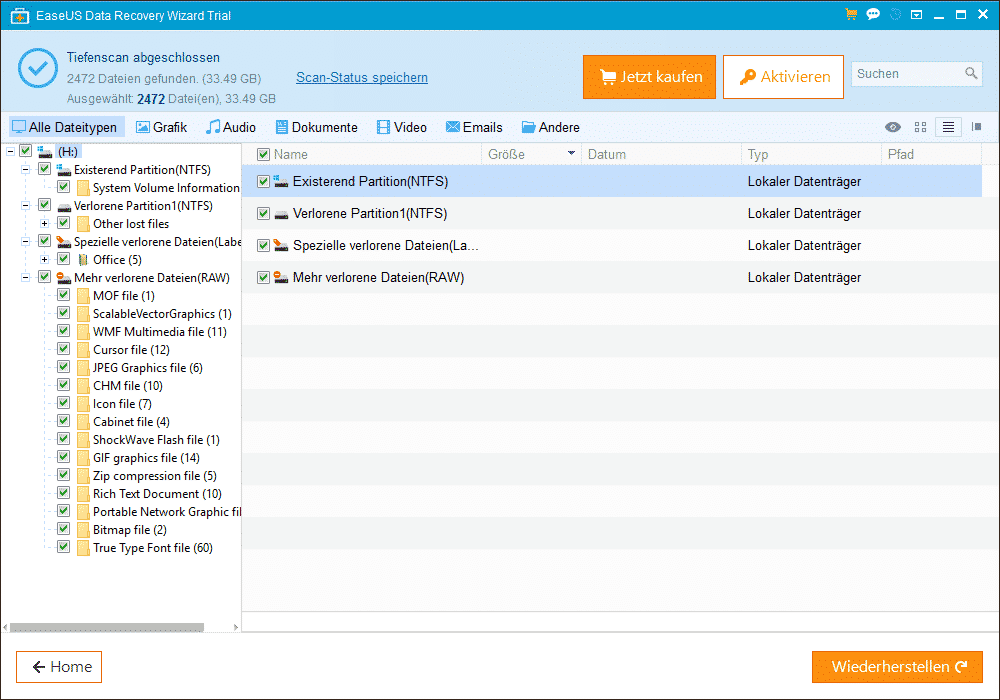 EaseUs Data Recovery Restore