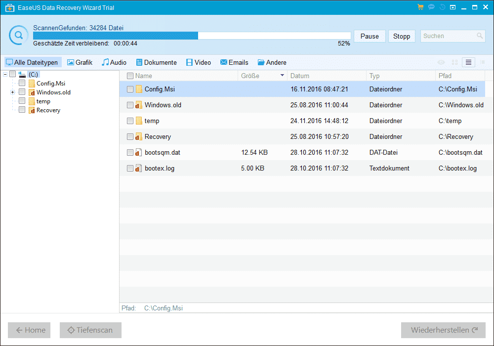 EaseUs Data Recovery Scanvorgang