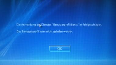 """Windows Profil Fehlermeldung """"Die Anmeldung des Dienstes """"Benutzerprofildienst"""" ist fehlgeschlagen."""""""