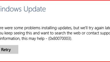 0x80070003 Fehlercode beim Windows Update