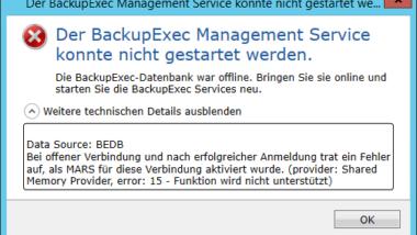 Der BackupExec Management Service konnte nicht gestartet werden – .NET Framework Update Fehler