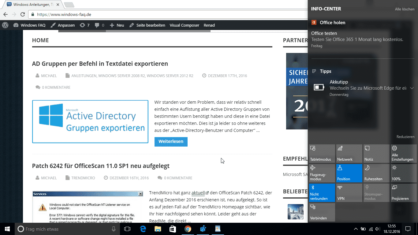 Windows 10 Info-Center immer im Vordergrund halten ...