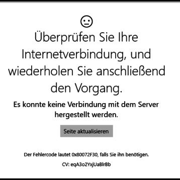 Überprüfen Sie Ihre Internetverbindung – Fehler 0x80072F30