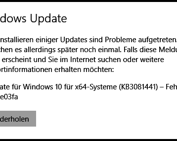 0x8e5e03fa Windows 10 Update Fehlercode