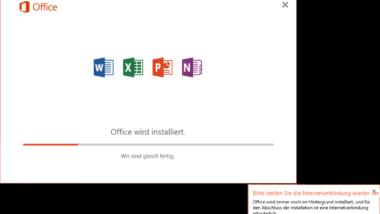 Office wird installiert – Bitte stellen Sie die Internetverbindung wieder her