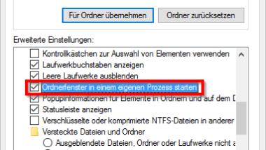 Jedes Windows Explorer Fenster in einem eigenen Prozess starten