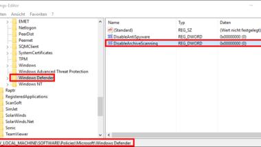 ZIP, RAR oder CAB Files mit Windows Defender durchsuchen
