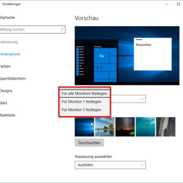 Unterschiedliche Hintergrundbilder für mehrere Monitore unter Windows 10 festlegen