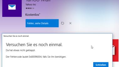 Windows Store Fehlermeldung 0x80096004