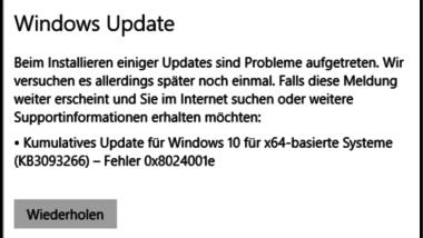 0x8024001e Fehlermeldung beim Windows Update KB3093266