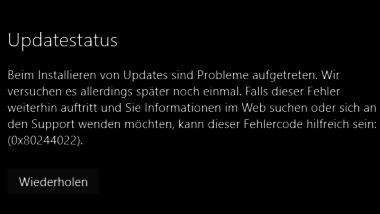 Windows Update Fehlermeldung 0x80244022