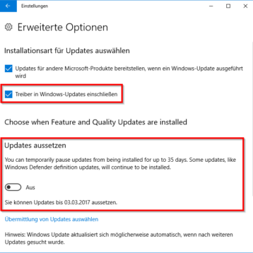 Windows Updates 35 Tage aussetzen bei Windows 10 Creators Update