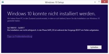 0xC1900101 – 0x20017 Windows 10 konnte nicht installiert werden