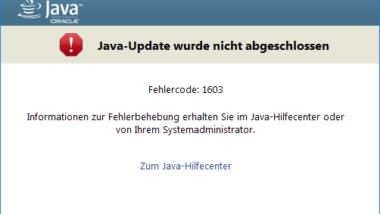 Java Update wurde nicht abgeschlossen – Fehlercode 1603