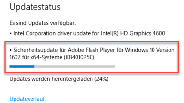 Windows 10 Update KB4010250 für Adobe Flash Player erschienen