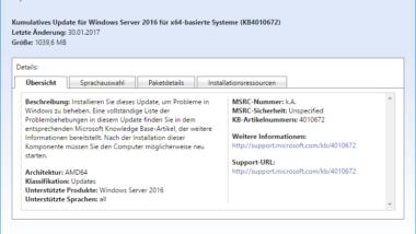 KB4010672 für Windows 10 steht zum Download bereit