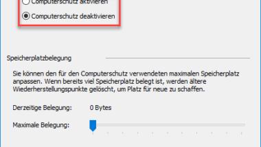 Wiederherstellungspunkt erstellen bei Windows 10