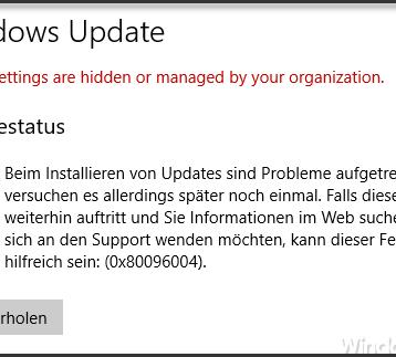 0x80096004 Fehlermeldung beim Windows 10 Update