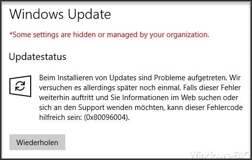 0x80096004 Fehlermeldung beim Windows 10 Update » Befehl, Fehlercode