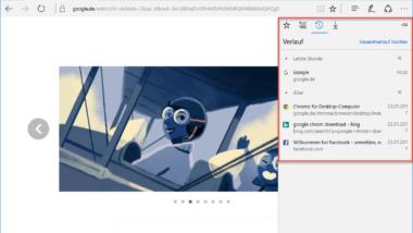 Microsoft Edge Browserverlauf anzeigen und löschen