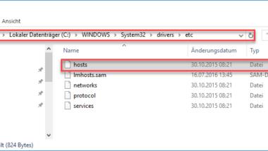 Hosts Datei bearbeiten unter Windows 10