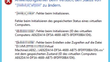 Hyper-V Anwendungsfehler beim Start einer kopierten VM