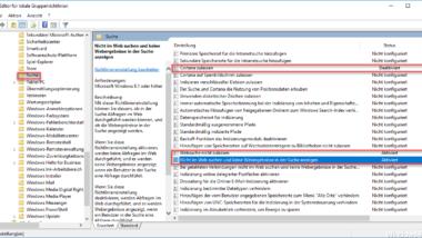 Windows 10 Bing Suchergebnisse (Cortana) ausschalten