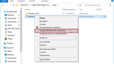 """Windows 10 Explorer um """"Ausgewählte Elemente ausblenden"""" im Kontextmenü erweitern"""