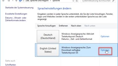 Windows 10 Systemsprache ändern / ausländisches Sprachpaket installieren
