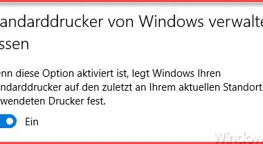 """Windows 10 – """"Standarddrucker von Windows automatisch verwalten lassen"""" deaktivieren"""