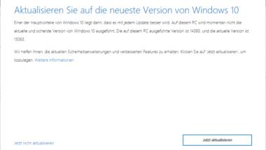 Windows 10 aktualisieren auf Version 15063 Creators Update (Build 15063.013)