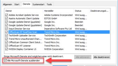 Windows Dienste Übersicht – Alle Microsoft Dienste ausblenden mit MSCONFIG