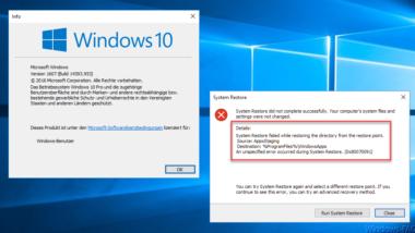 0x80070091 Fehler bei der Windows 10 Systemwiederherstellung