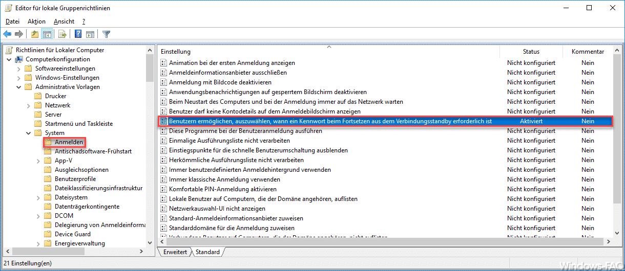 Benutzern ermöglichen, auszuwählen, wann ein Kennwort beim Fortsetzen aus dem Verbindungsstandby erforderlich ist