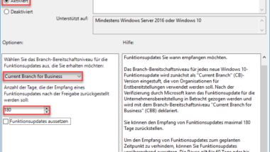 Windows 10 Installation von Feature Updates per Gruppenrichtlinie zurückstellen