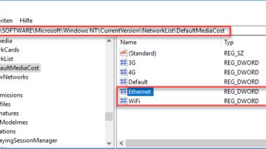 Ethernet Netzwerkverbindung und WLAN Verbindung bei Windows 10 auf getaktet (metered) umstellen