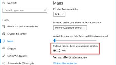 Inaktive Fenster beim Daraufzeigen scrollen – Windows 10 Maus Einstellung