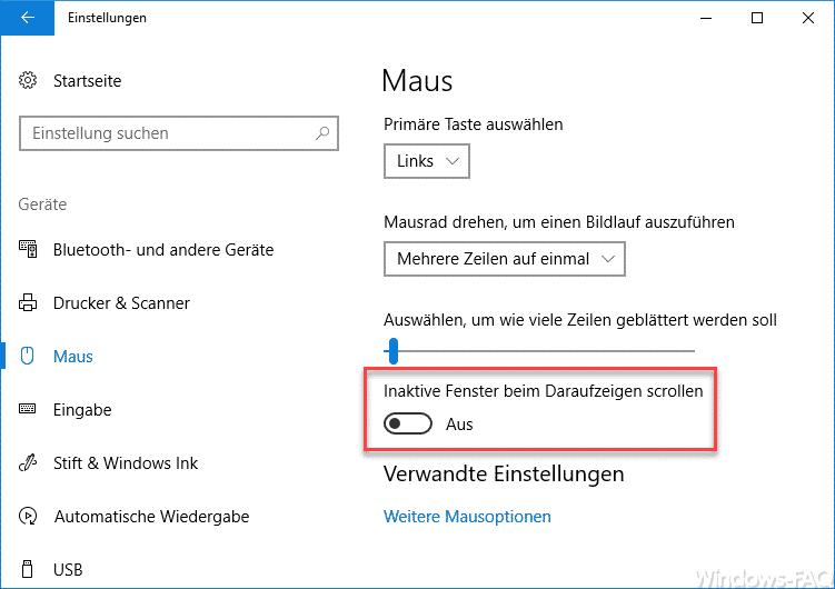 Inaktive Fenster beim Daraufzeigen scrollen - Windows 10